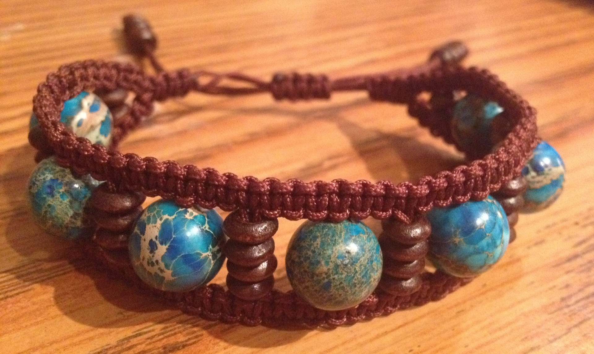 Shamballa  double turquoise bleu boiss brun